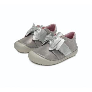 D.D.Step – Átmeneti gyerekcipő – bőr félcipő – ezüst gyöngyház, masnis