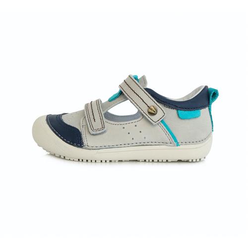 D.D. Step - Nyitott gyerekcipő - zárt szandál - világos szürke, kék mintával