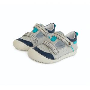 D.D. Step – Nyitott gyerekcipő – zárt szandál – világos szürke, kék mintával