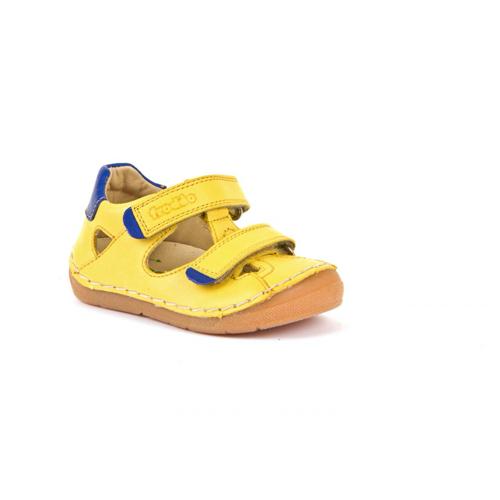 FRODDO - Dupla tépőzáras bőr szandál - sárga