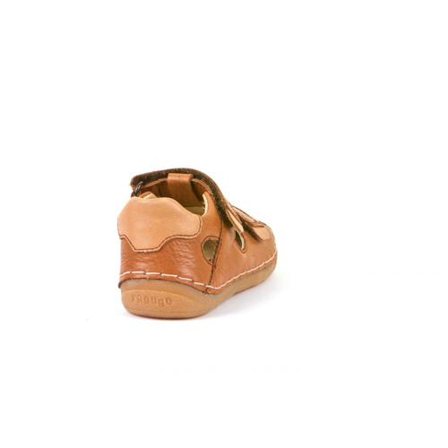 FRODDO - Dupla tépőzáras bőr szandál - barna