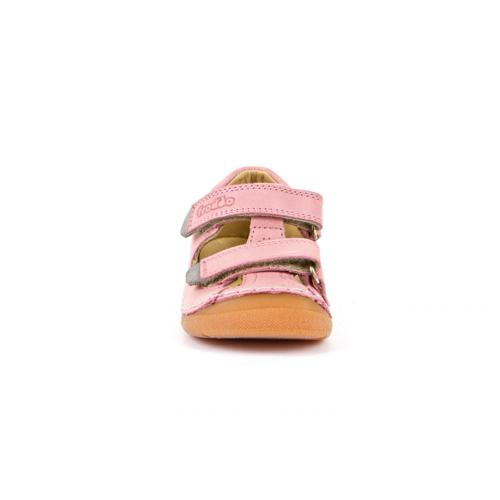 FRODDO - Dupla tépőzáras bőr szandál - rózsaszín