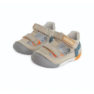 D.D. Step – Nyitott gyerekcipő – zárt szandál – vajszínű, narancs és kék színnel
