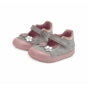 D.D. Step – Nyitott gyerekcipő – zárt bőrszandál – ezüst, virágos
