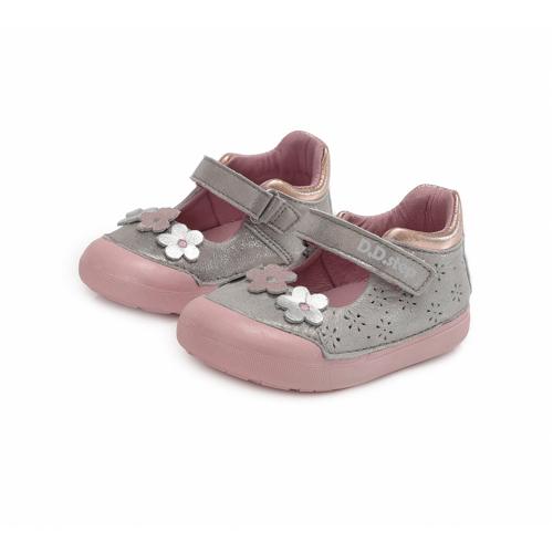 D.D. Step - Nyitott gyerekcipő - zárt bőrszandál - ezüst, virágos
