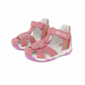 D.D. Step – Nyitott gyerekcipő – bőr szandál – rózsaszín, mosolygó mintával