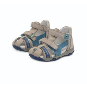 D.D. Step – Nyitott gyerekcipő – bőr szandál – világosszürke, kék