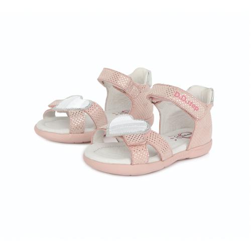 D.D. Step - Nyitott gyerekcipő - bőr szandál - pöttyös pink, szív minta