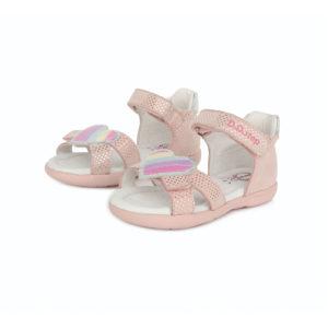D.D. Step – Nyitott gyerekcipő – bőr szandál – pöttyös pink, szív minta