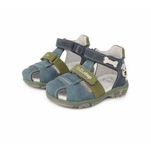 D.D. Step – Nyitott gyerekcipő – bőr szandál – kék, zöld, kutyás