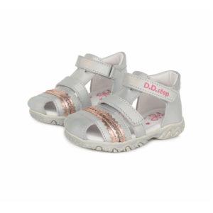 D.D. Step – Nyitott gyerekcipő – bőr szandál – szürke, bronz mintával