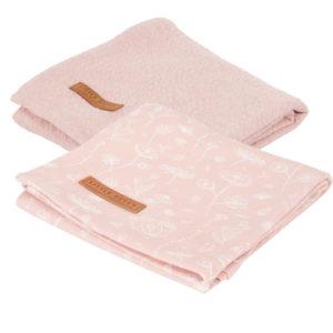 Little Dutch – Textilpelenka 2 db-os, 70 x 70 cm – pink, vad virágok