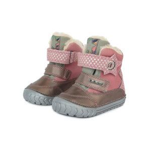 D.D.Step – Gyerekcipő – Téli bélelt, tépőzáras bőr bokacsizma – rózsaszín, csillag