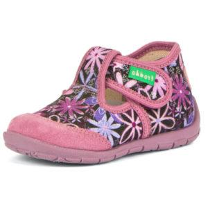 FRODDO – Puhatalpú benti cipő – vászon és bőr – zárt szandál – pink, virágok
