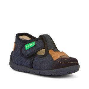 FRODDO – Puhatalpú benti cipő – vászon és bőr – zárt szandál – sötétkék, maci