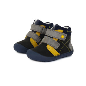 D.D.Step – Gyerekcipő – Átmeneti barefoot bőrcipő –  fekete, sárga