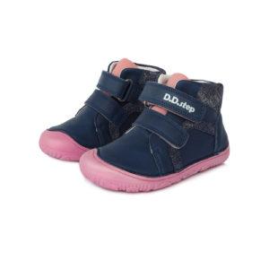 D.D.Step – Gyerekcipő – Átmeneti barefoot bőrcipő – sötétkék, rózsaszín