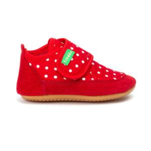 FRODDO – Puhatalpú benti cipő – vászon és bőr – piros, pöttyös