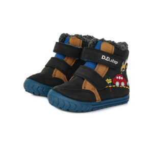 D.D.Step – Gyerekcipő – Téli magasszárú bélelt bőrcipő – fekete, autók