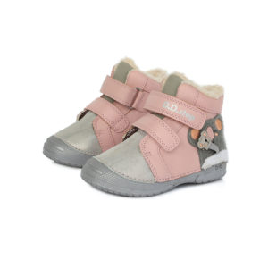 D.D.Step – Gyerekcipő – Téli bélelt bőr bokacipő – rózsaszín, koala
